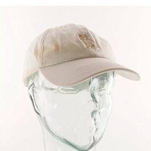 OVO Drake Gold Owl White Strapback Hat Cap Damaged